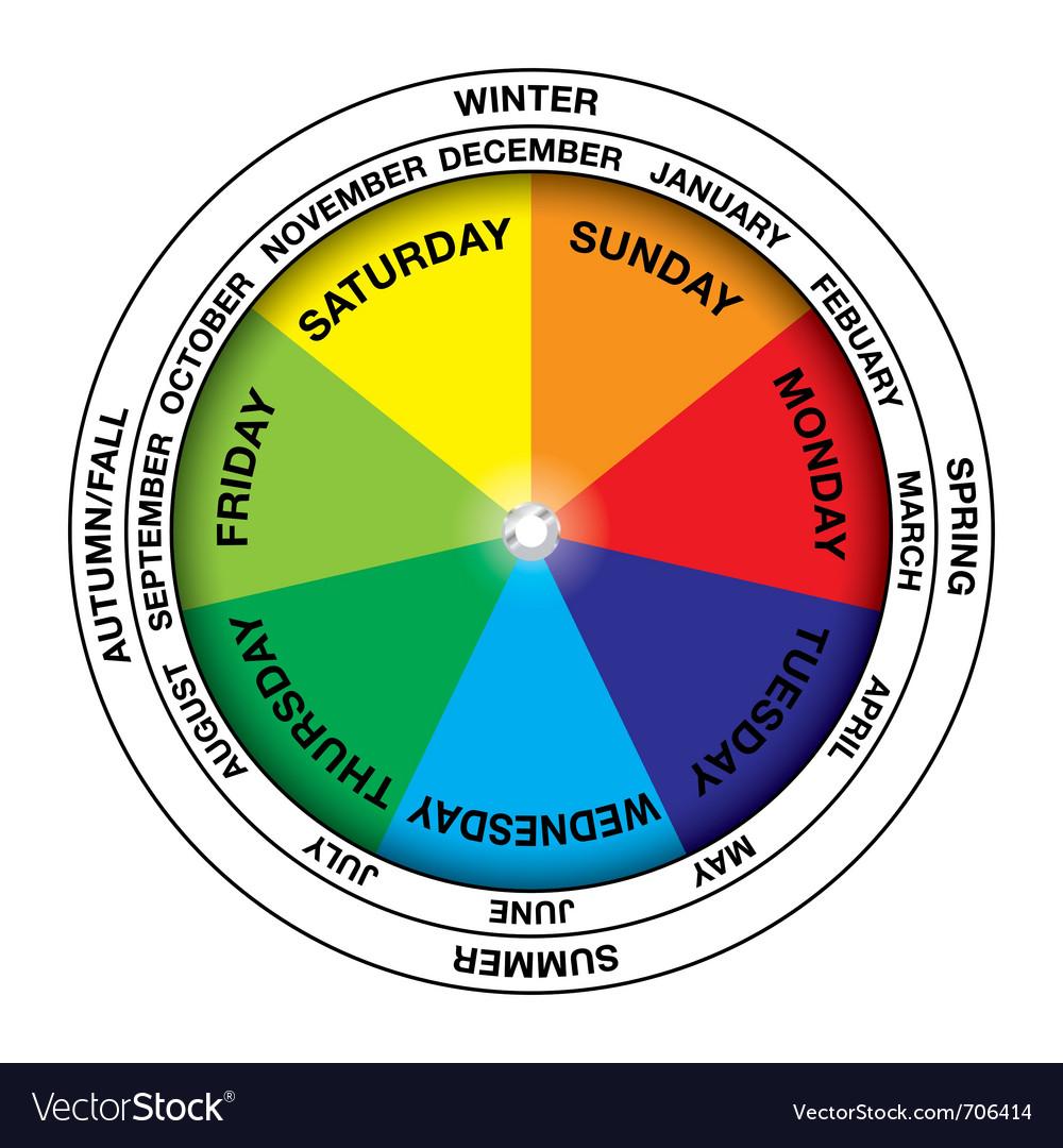 Colourful calendar wheel vector | Price: 1 Credit (USD $1)