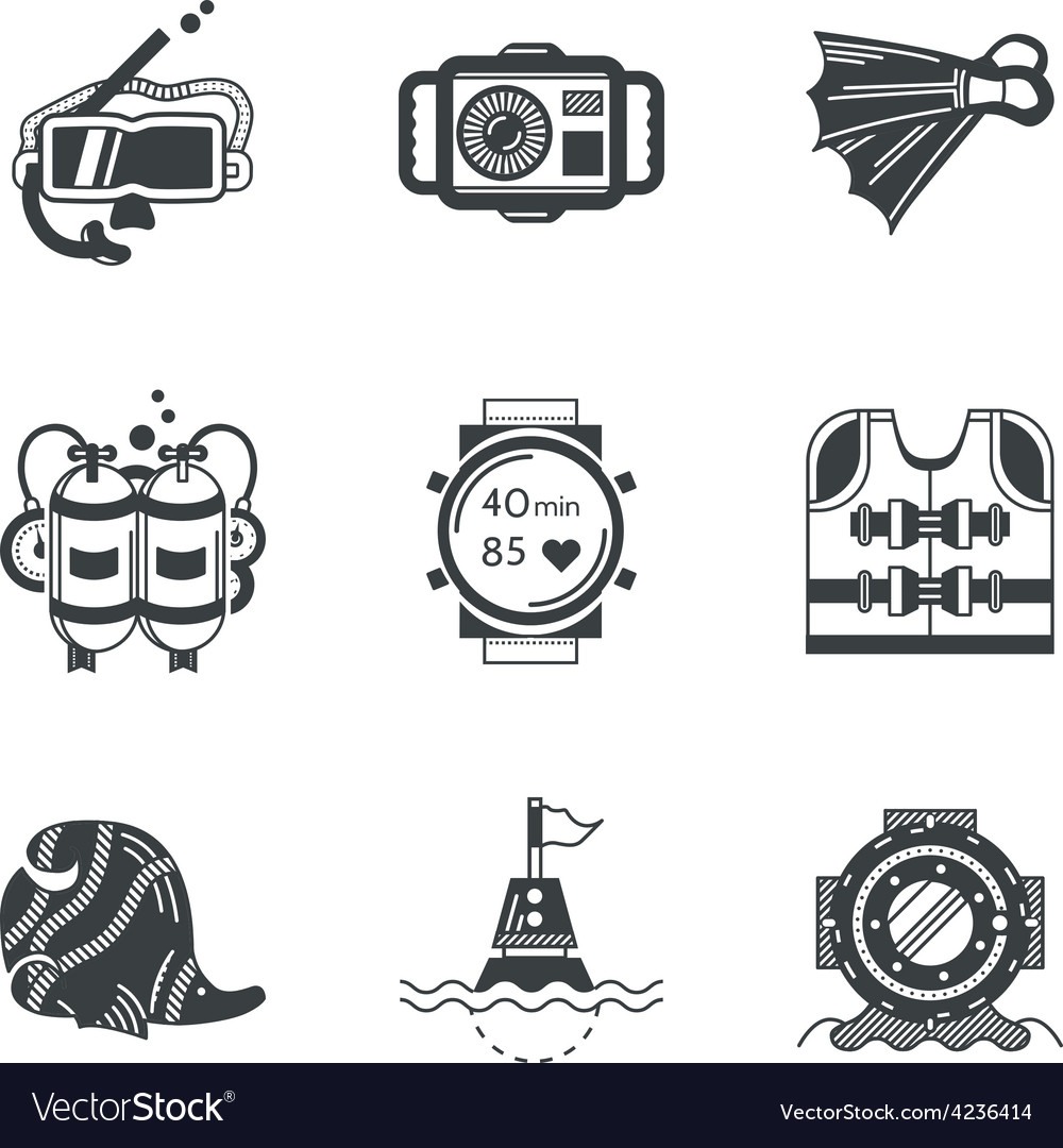 Diving objects black icons vector   Price: 1 Credit (USD $1)