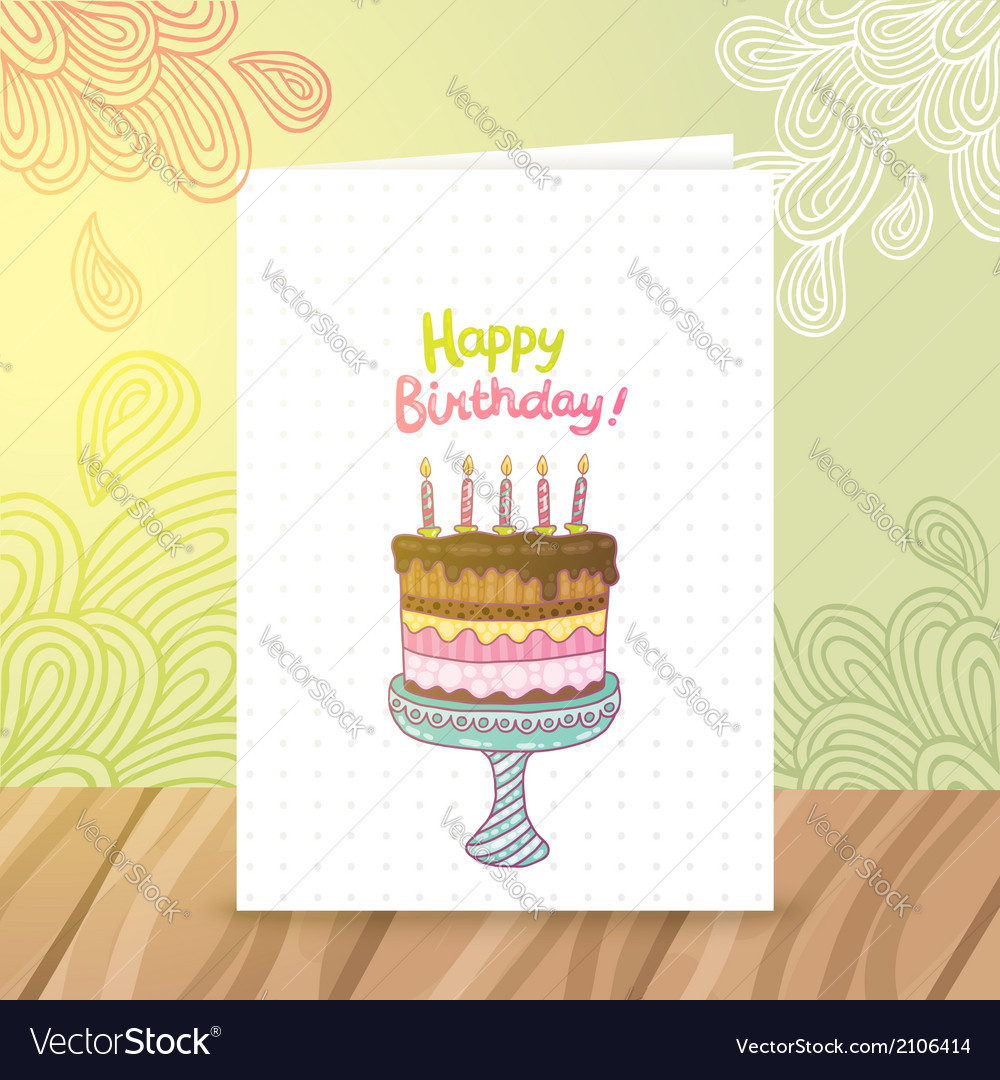 Happy birthday postcard template withcake vector | Price: 1 Credit (USD $1)