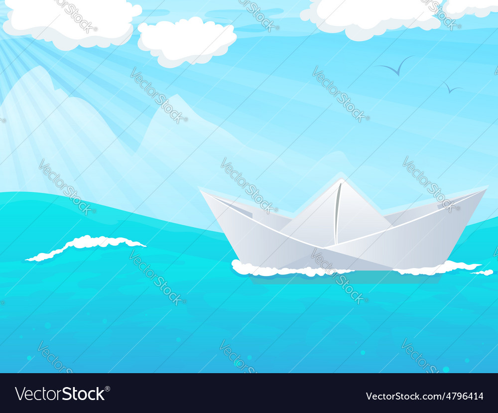 Paper boat in water vector | Price: 3 Credit (USD $3)