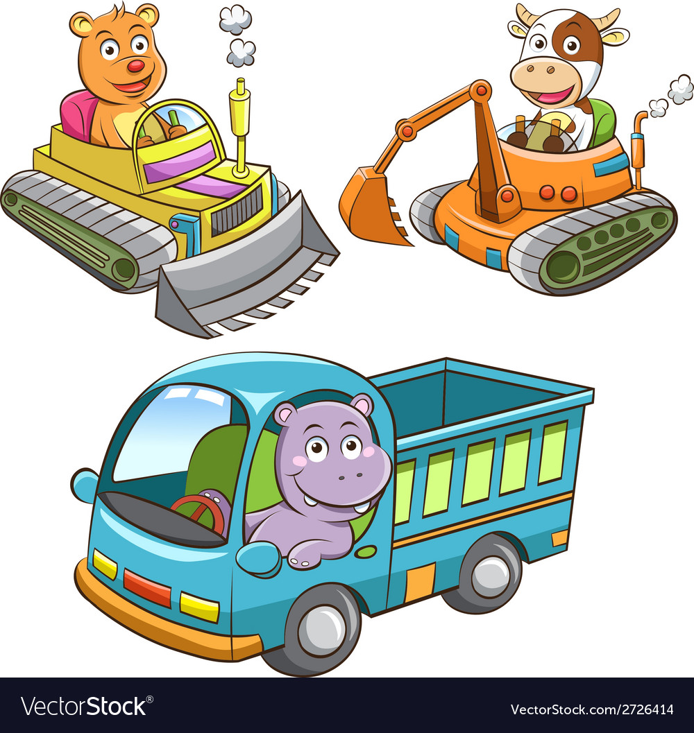 Set of construction vehicle animal cartoon vector | Price: 3 Credit (USD $3)
