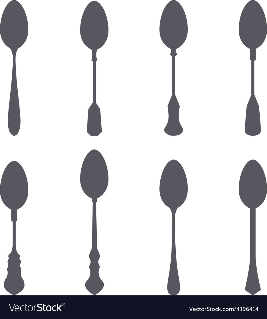 Set of spoon silhouette vector | Price: 1 Credit (USD $1)