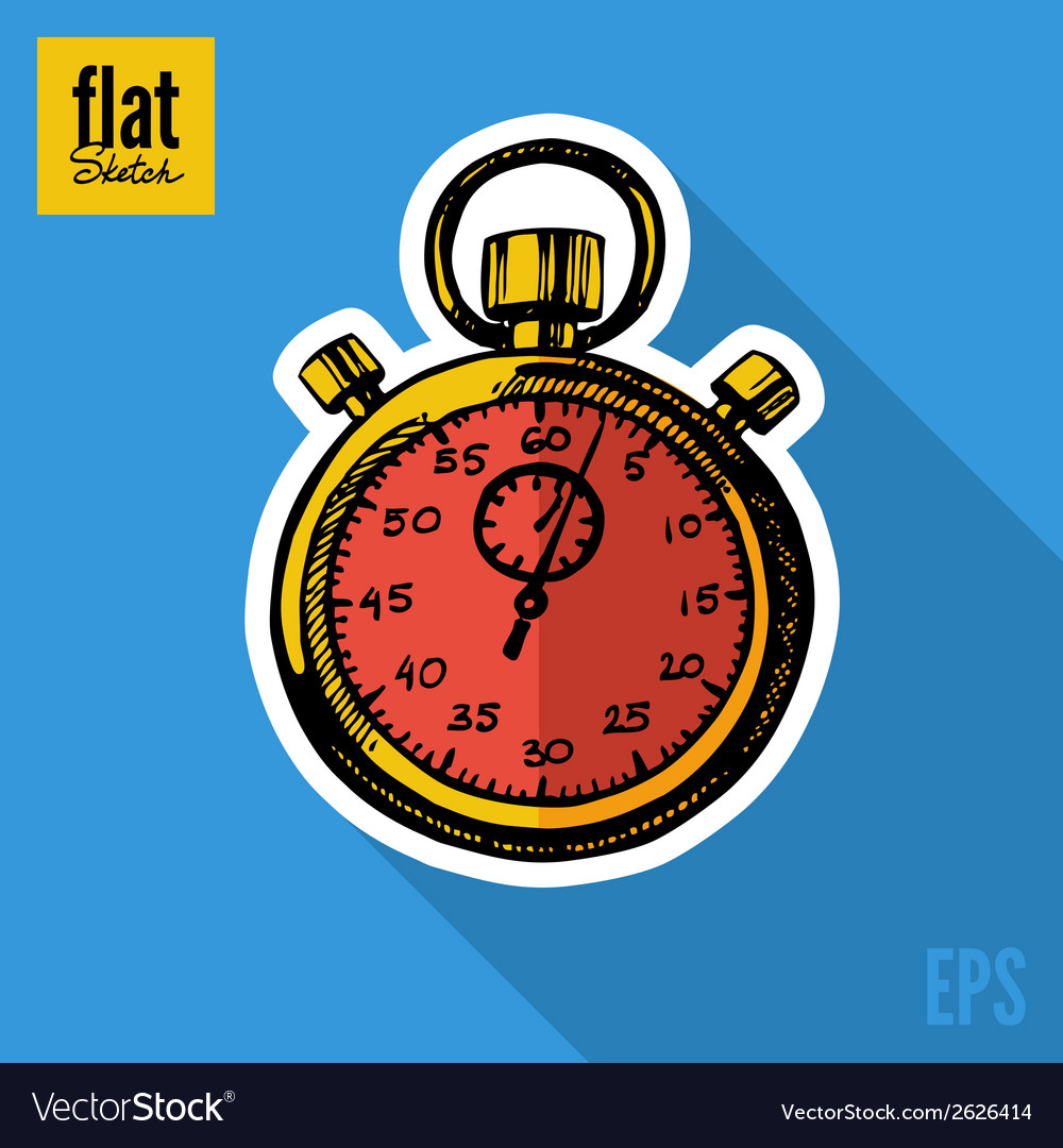 Sketch style hand drawn stopwatch flat icon vector | Price: 1 Credit (USD $1)