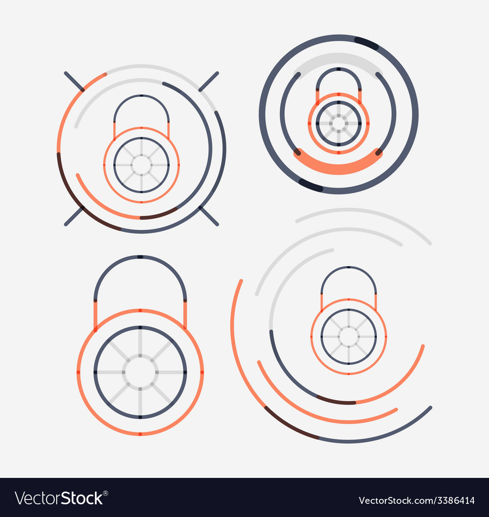 Thin line neat design logo set lock concepts vector | Price: 1 Credit (USD $1)