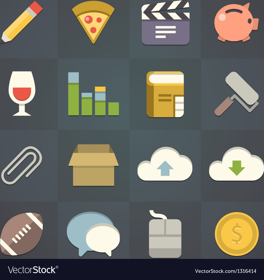 Universal flat icons for applications set vector | Price: 3 Credit (USD $3)
