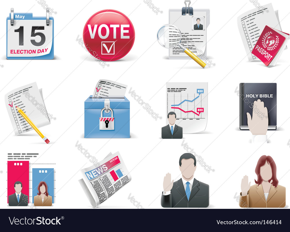 Voting and election icon set vector | Price: 3 Credit (USD $3)