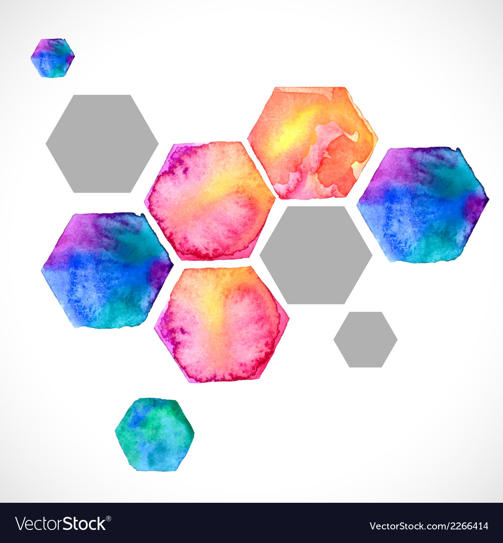 Watercolor bright hexagon over white vector | Price: 1 Credit (USD $1)