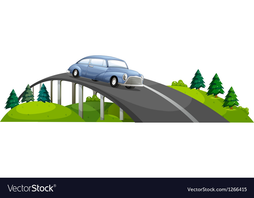 A car passing over the bridge vector | Price: 1 Credit (USD $1)