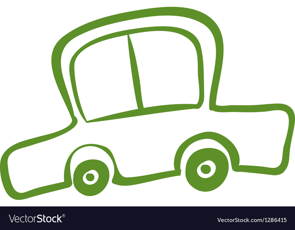 A drawing of a green car vector | Price: 1 Credit (USD $1)