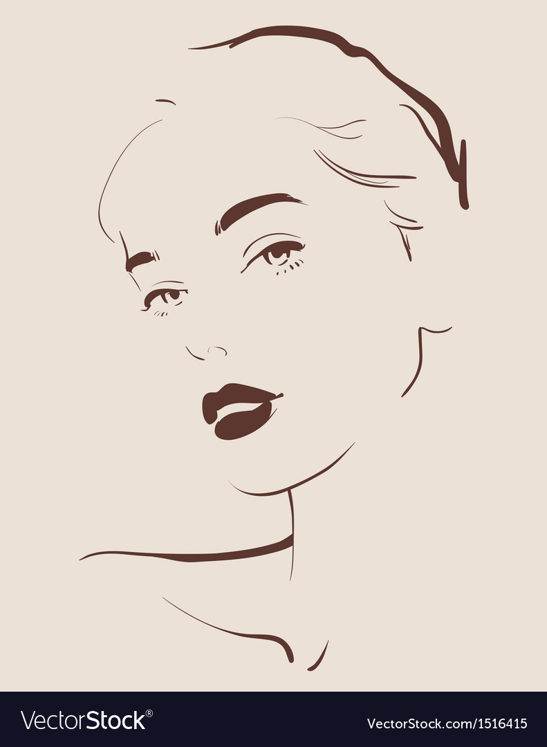 Beautiful woman face hand drawn vector | Price: 3 Credit (USD $3)