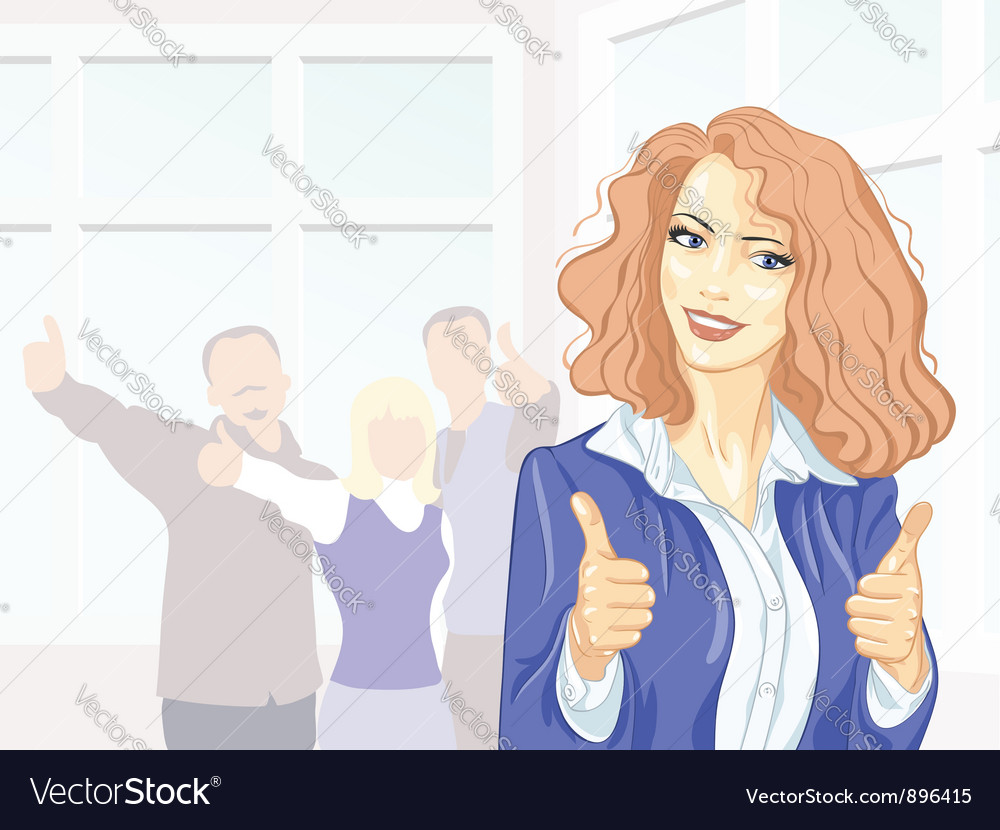 Beautiful young business woman with thumbs up vector | Price: 3 Credit (USD $3)