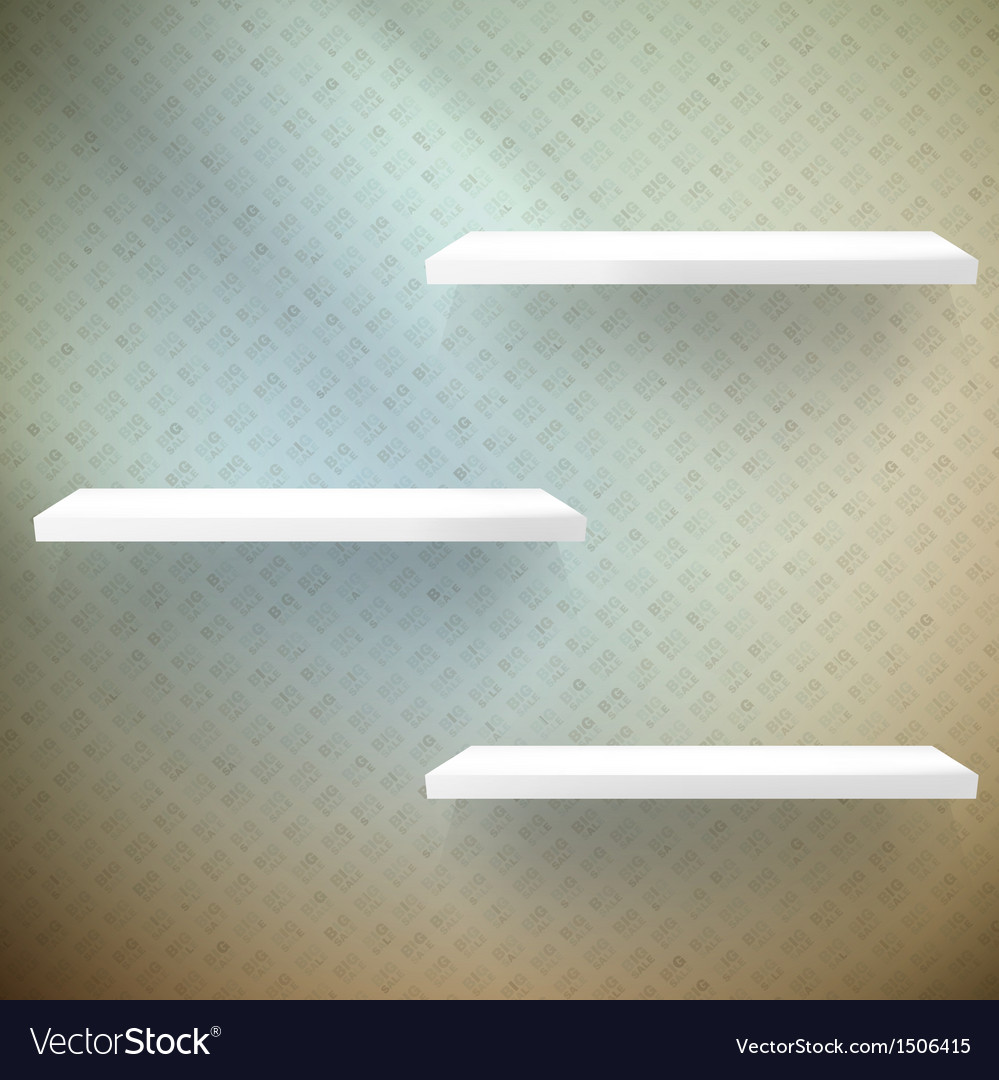 Big sale three empty white shelves vector | Price: 1 Credit (USD $1)
