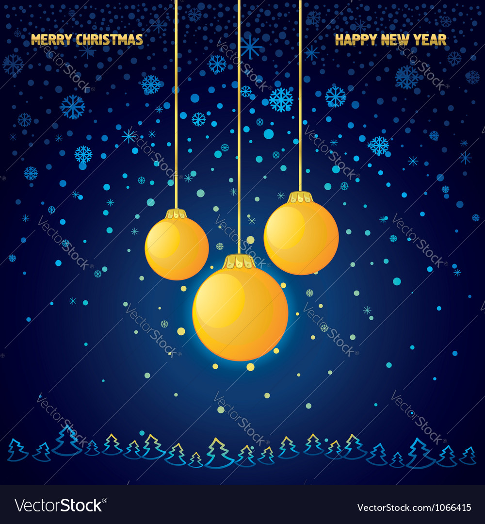 Blue christmas background with a yellow glass ball vector | Price: 1 Credit (USD $1)