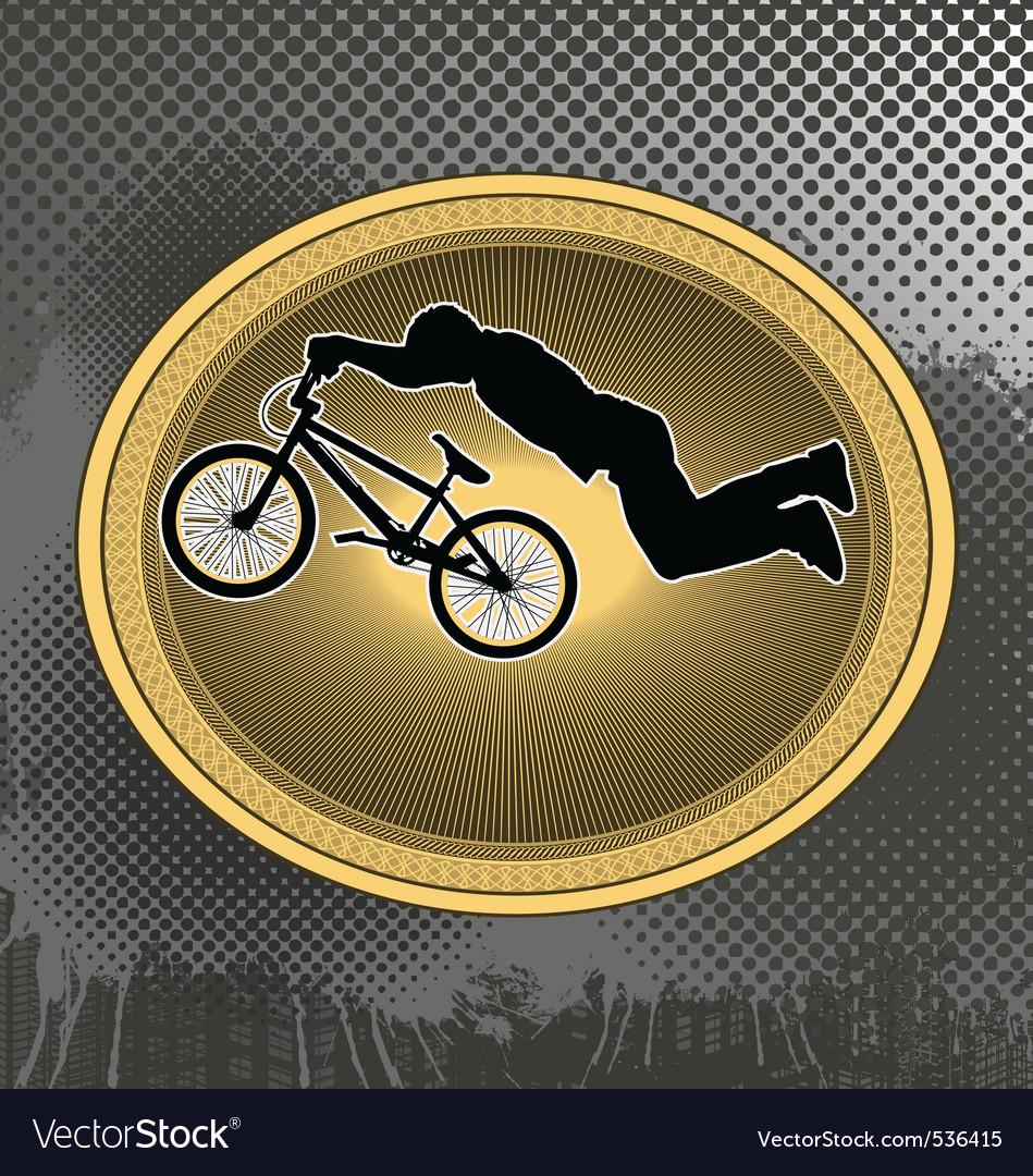 Bmx biker in vintage frame vector | Price: 1 Credit (USD $1)