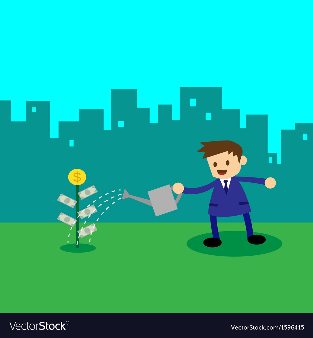 Businessman watering money plant vector   Price: 1 Credit (USD $1)