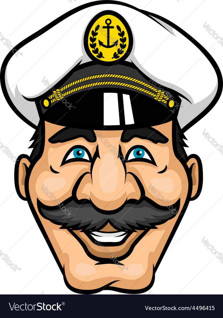 Cheerful moustached captain character in cap vector | Price: 1 Credit (USD $1)