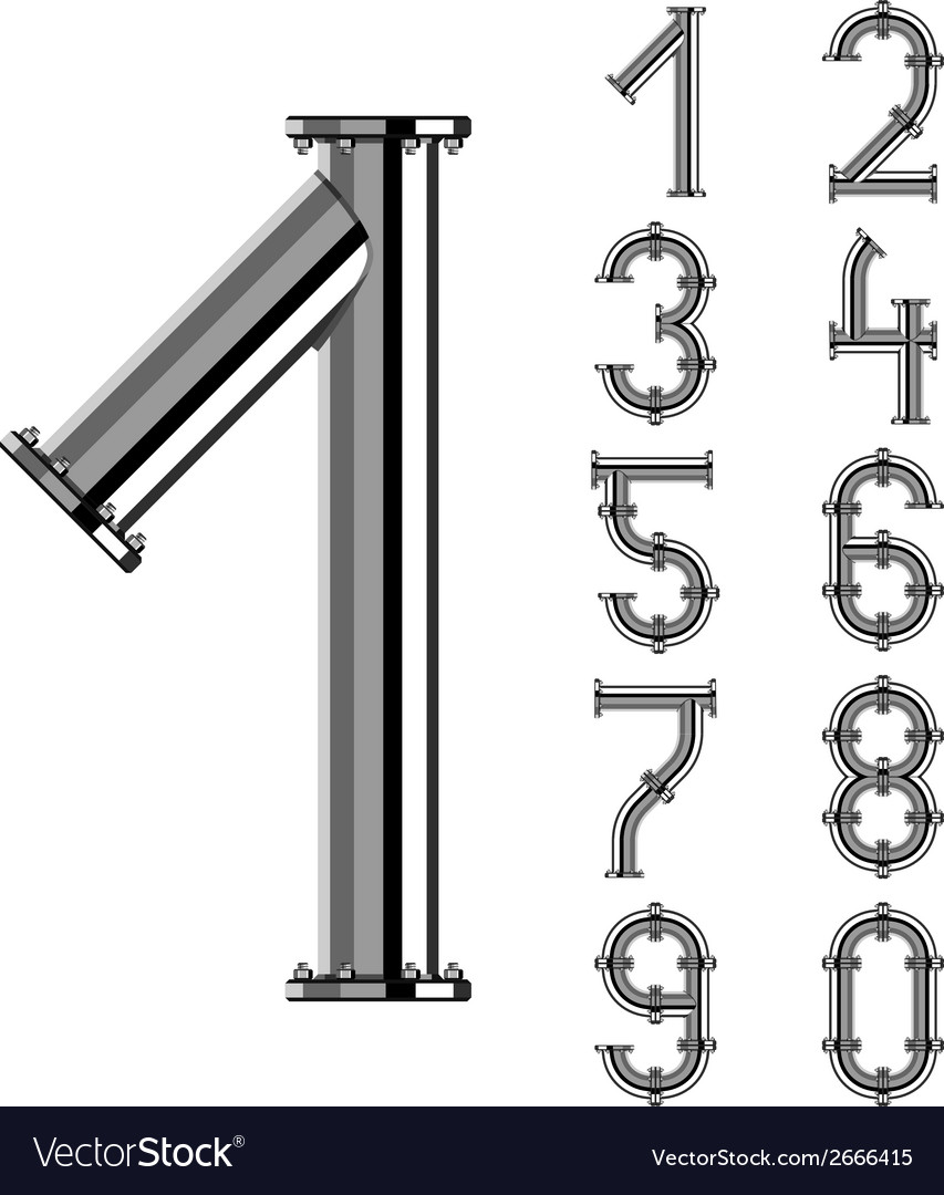 Chrome pipe alphabet numbers vector | Price: 1 Credit (USD $1)
