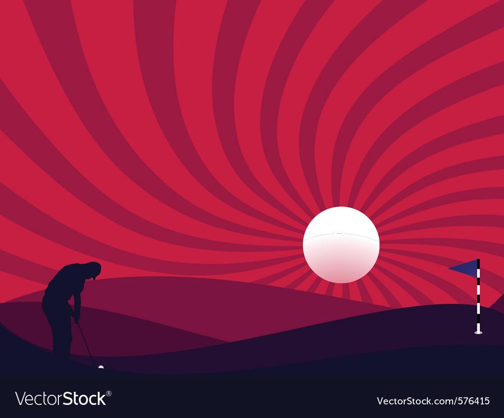 Golfer silhouette vector | Price: 1 Credit (USD $1)