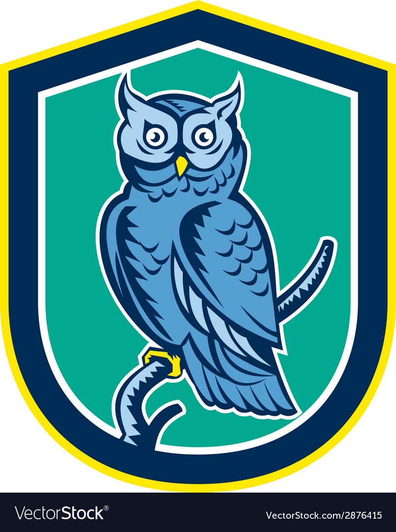 Great horned owl on branch shield retro vector | Price: 1 Credit (USD $1)