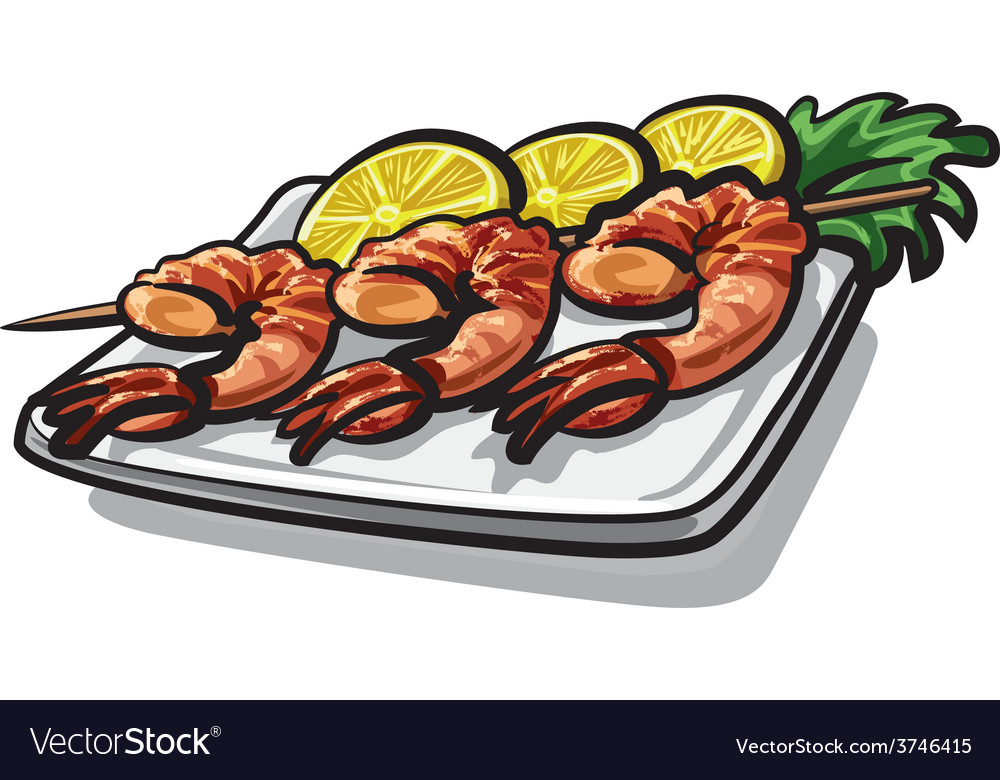 Grilled shrimps vector | Price: 3 Credit (USD $3)