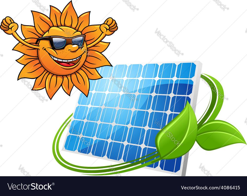 Happy cartoon sun with solar panel vector | Price: 1 Credit (USD $1)