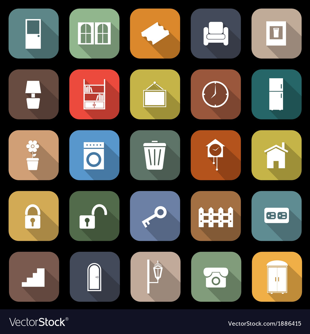 House related flat icons with long shadow vector | Price: 1 Credit (USD $1)