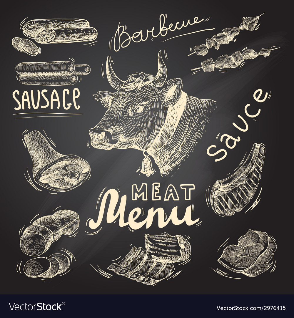 Meat chalkboard set vector | Price: 1 Credit (USD $1)