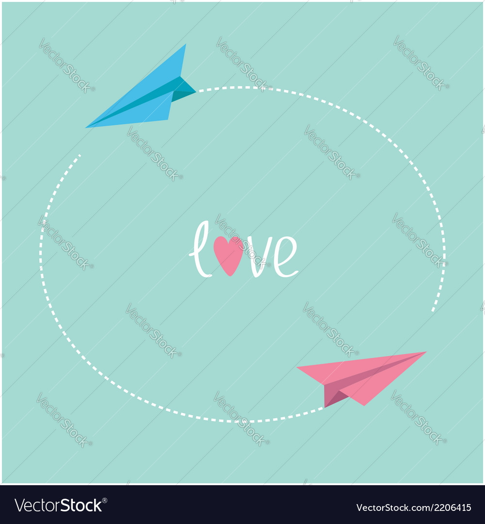 Pink and blue origami paper planes round dash vector | Price: 1 Credit (USD $1)