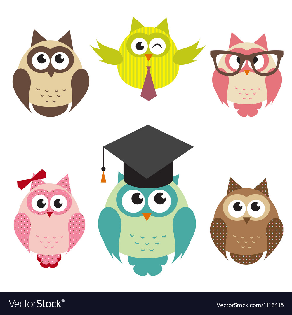 Set of cute owls vector | Price: 3 Credit (USD $3)