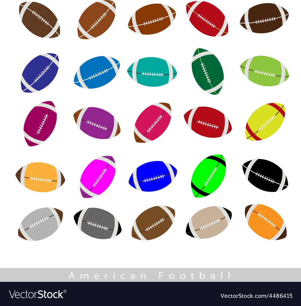 Set of multi-colored american footballs on white vector | Price: 1 Credit (USD $1)