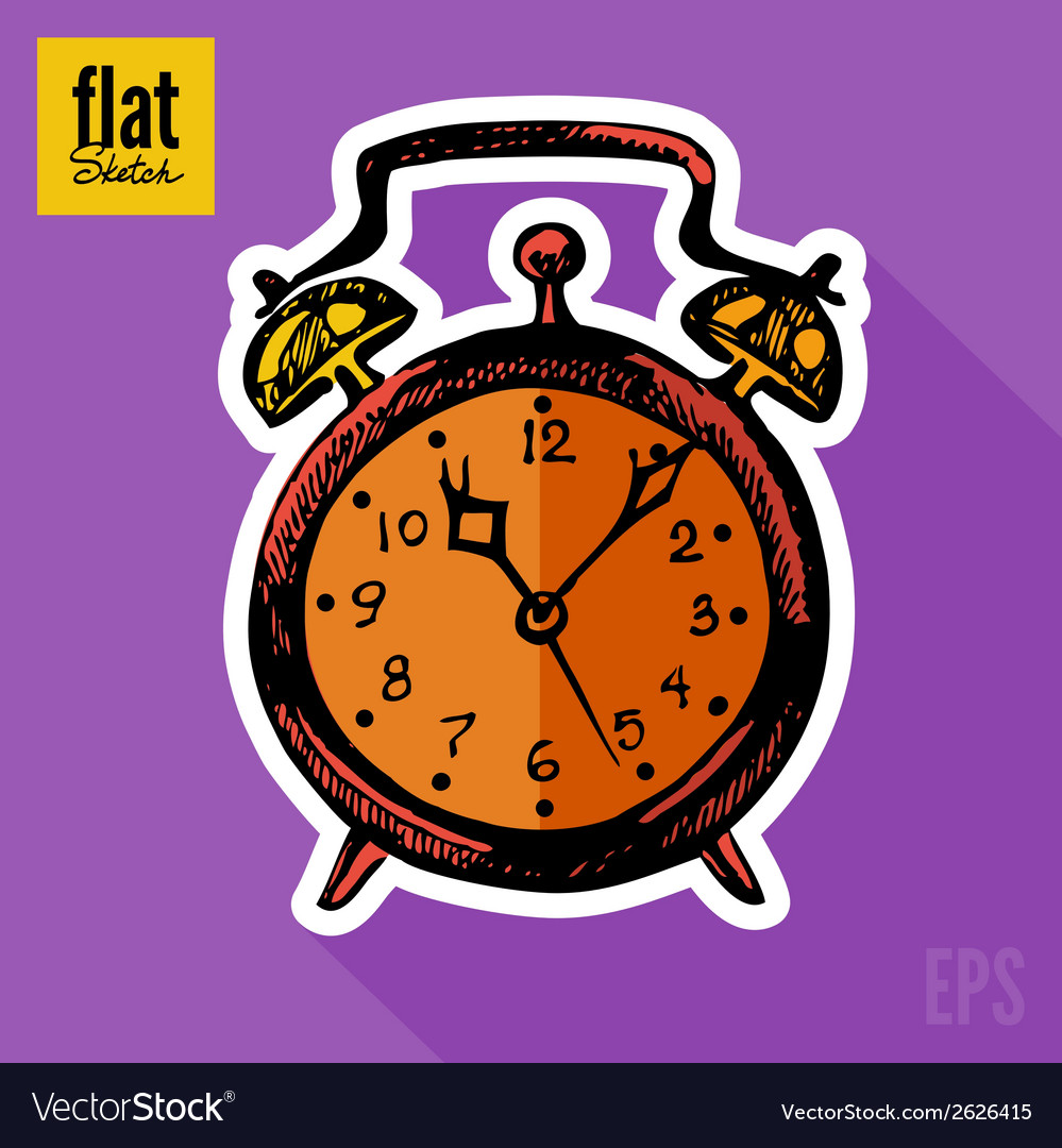 Sketch style hand drawn alarm clock flat icon vector | Price: 1 Credit (USD $1)
