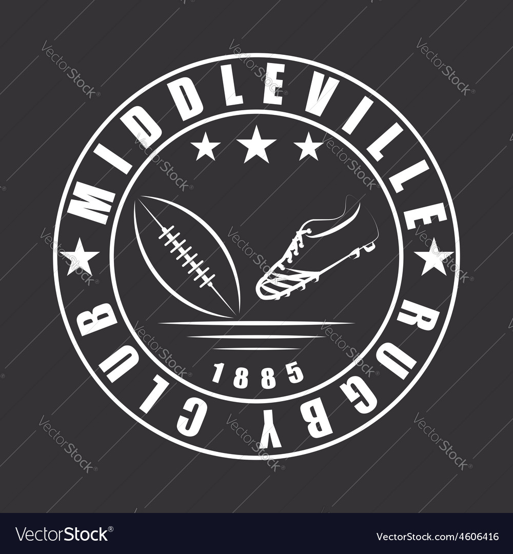 American football or rugby ball and boot emblem vector | Price: 1 Credit (USD $1)