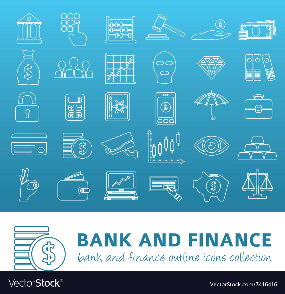 Bank and finance outline icons vector | Price: 1 Credit (USD $1)