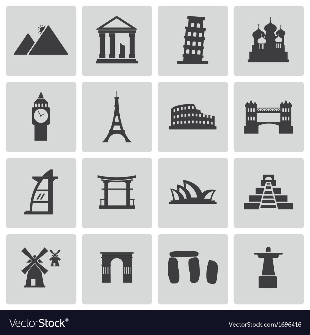 Black landmark icons set vector