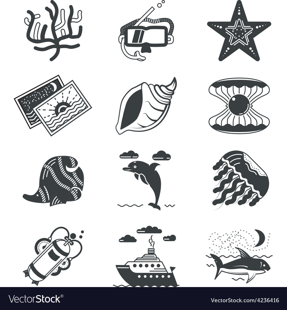 Black monochrome marine icons vector | Price: 1 Credit (USD $1)