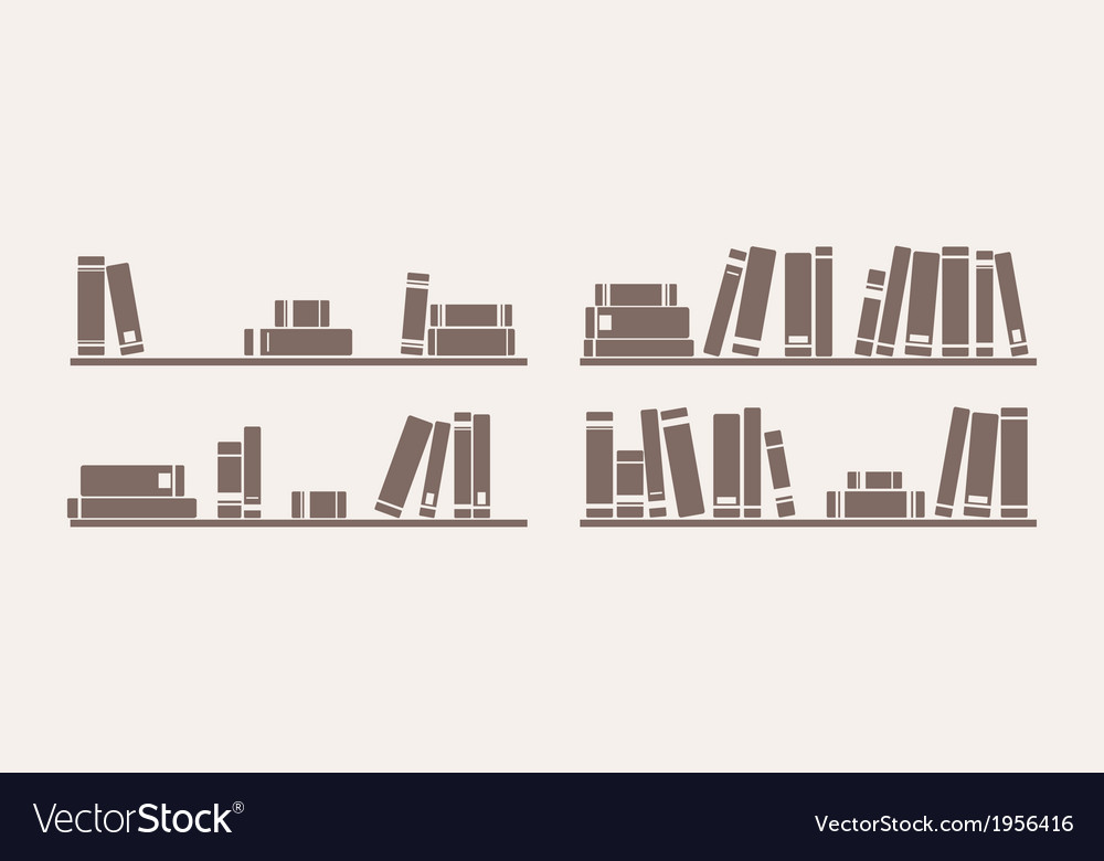 Book on shelf icon set bookshelf school objects vector | Price: 1 Credit (USD $1)