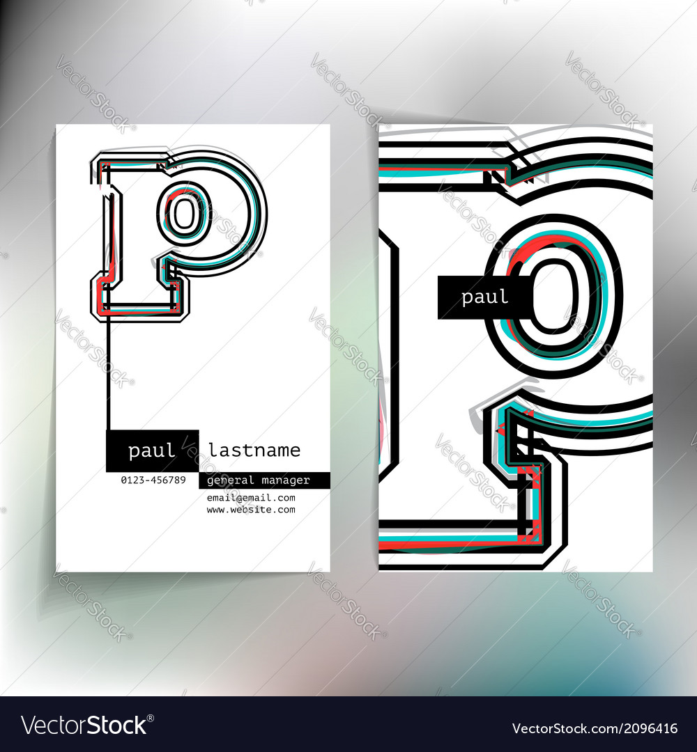 Business card design with letter p vector | Price: 1 Credit (USD $1)