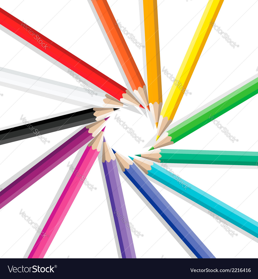 Color pencils in a circle vector | Price: 1 Credit (USD $1)