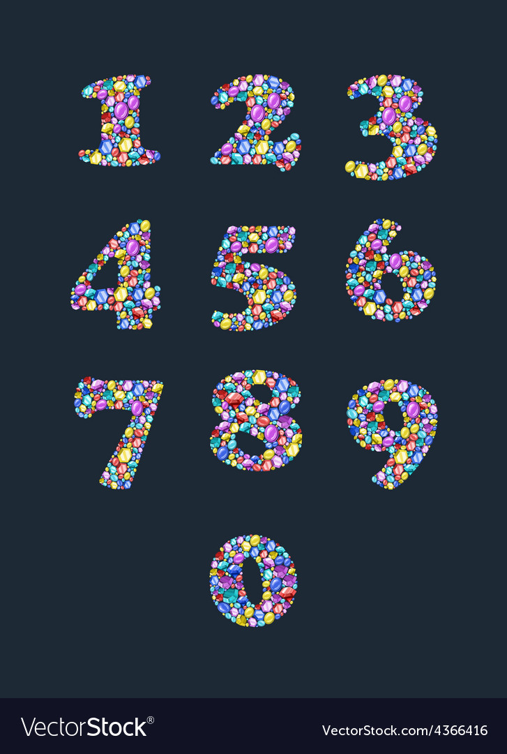 Colorful diamond numbers with gemstones vector | Price: 1 Credit (USD $1)