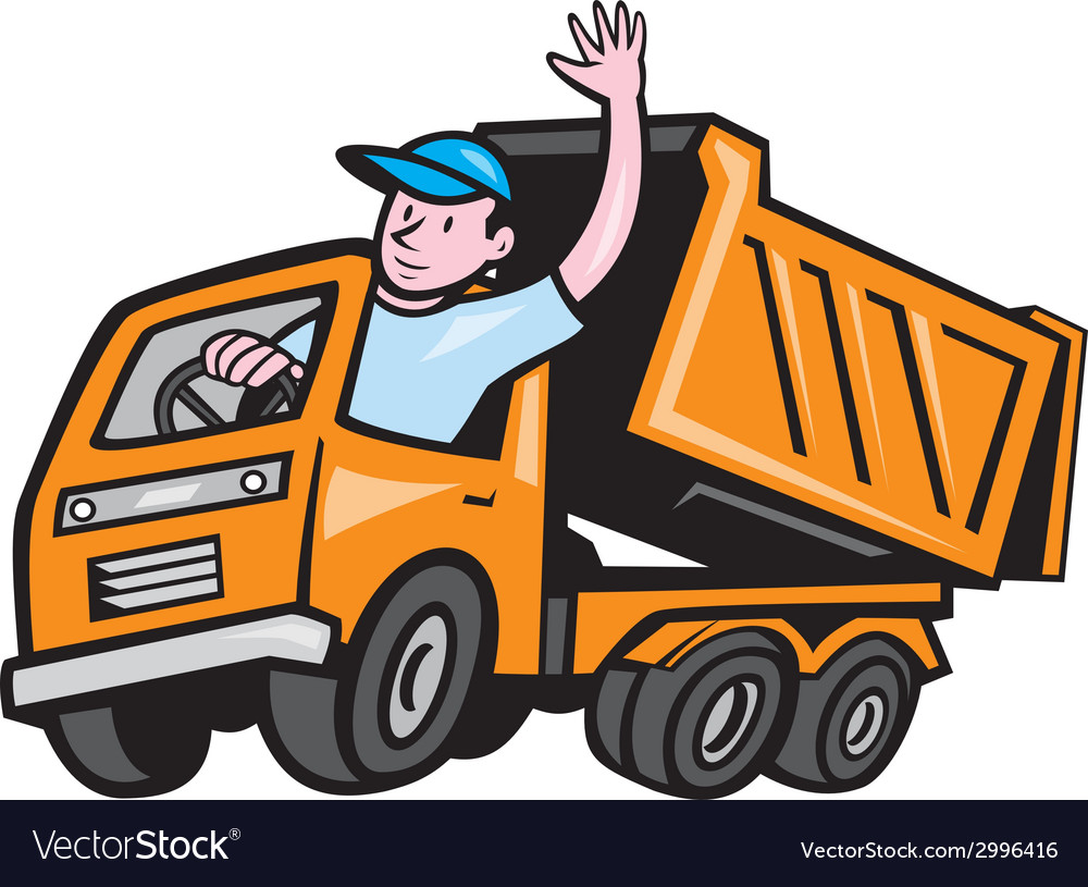 Dump truck driver waving cartoon vector   Price: 1 Credit (USD $1)