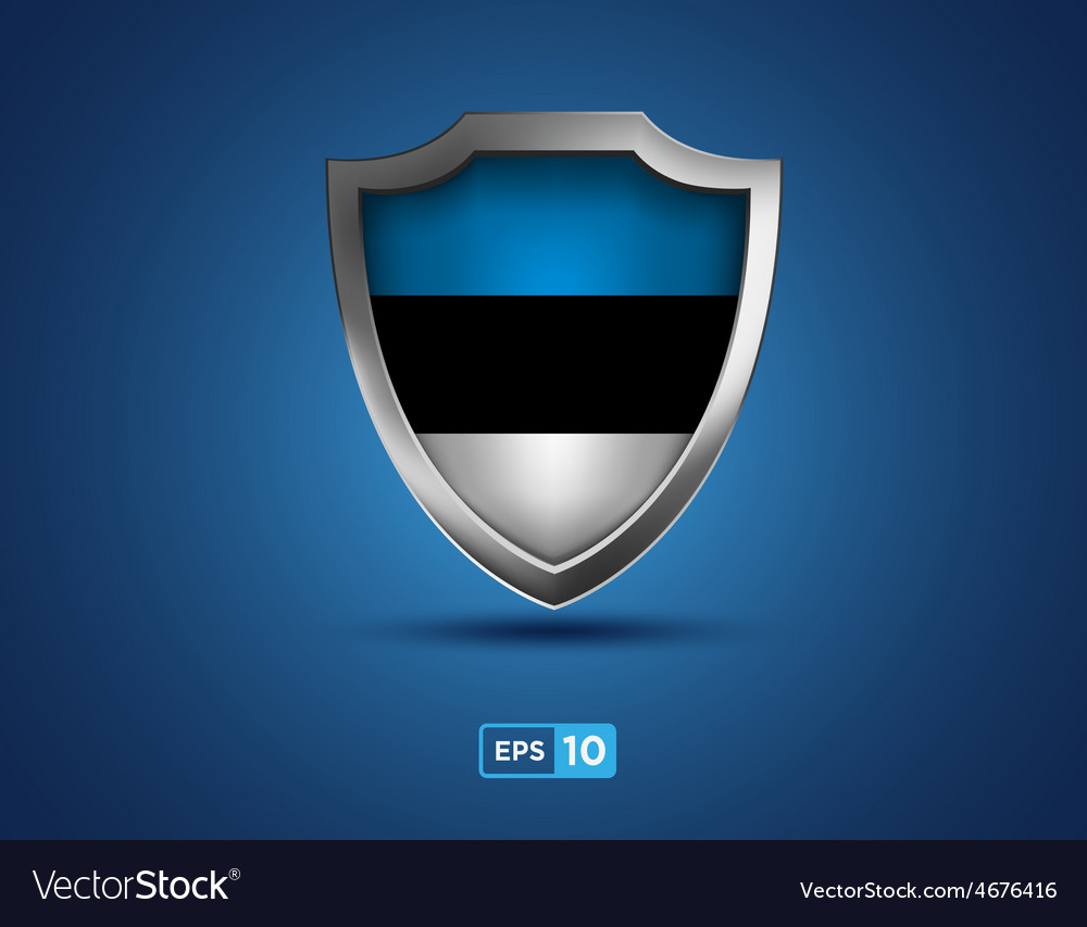 Estonia shield on the blue background vector | Price: 1 Credit (USD $1)