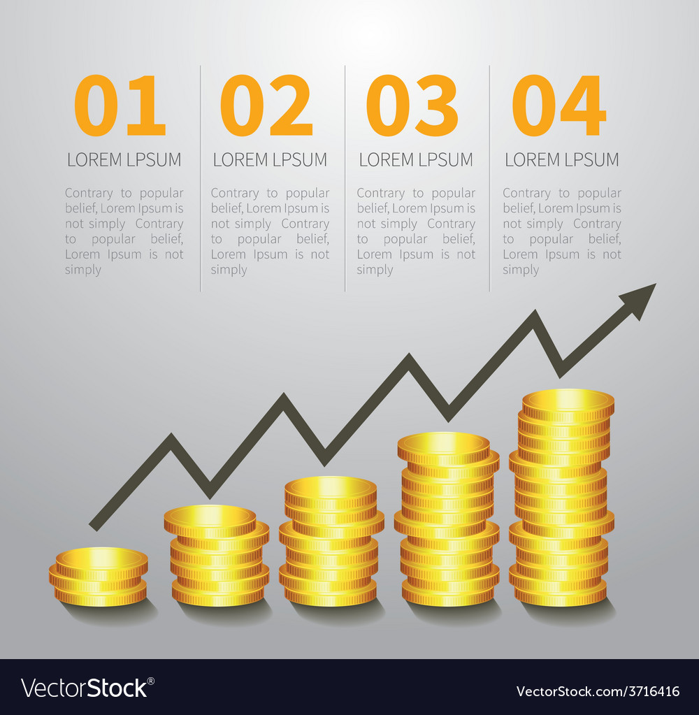 Golden coin graph money vector | Price: 1 Credit (USD $1)