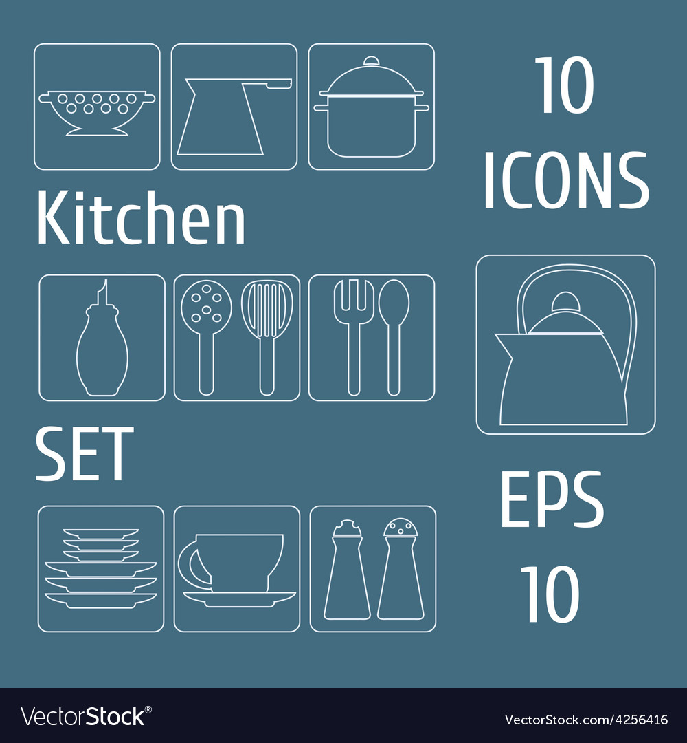 Kitchen set icons vector | Price: 1 Credit (USD $1)