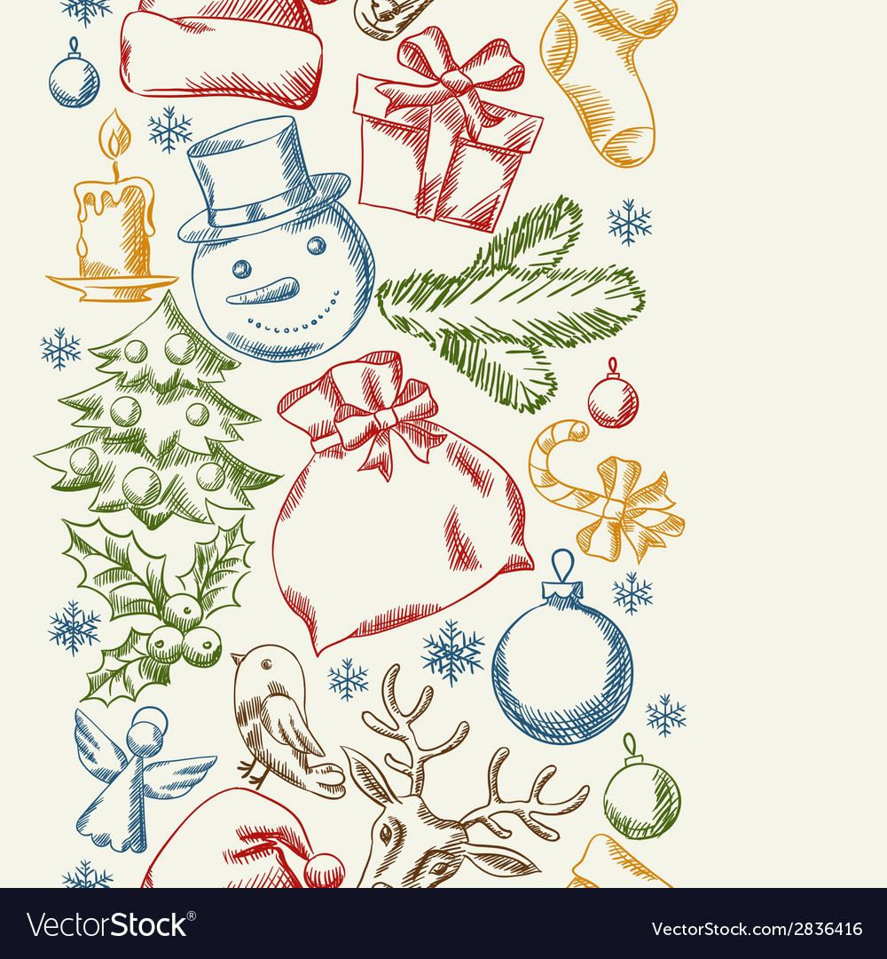 Merry christmas hand drawn seamless pattern design vector | Price: 1 Credit (USD $1)