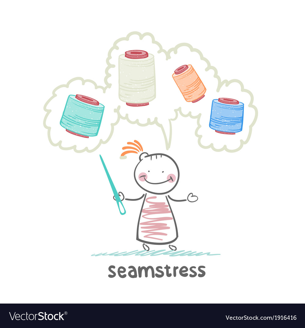 Seamstress holding a needle and thinks of colored vector | Price: 1 Credit (USD $1)