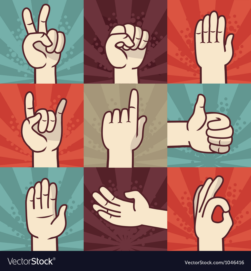 Set of hands and gestures - in retro comic style vector | Price: 1 Credit (USD $1)