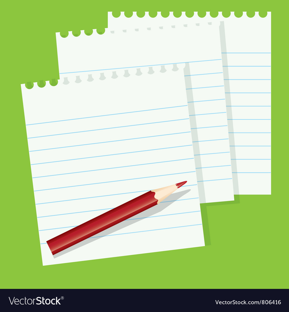 Sheets of paper and a red pencil vector | Price: 1 Credit (USD $1)