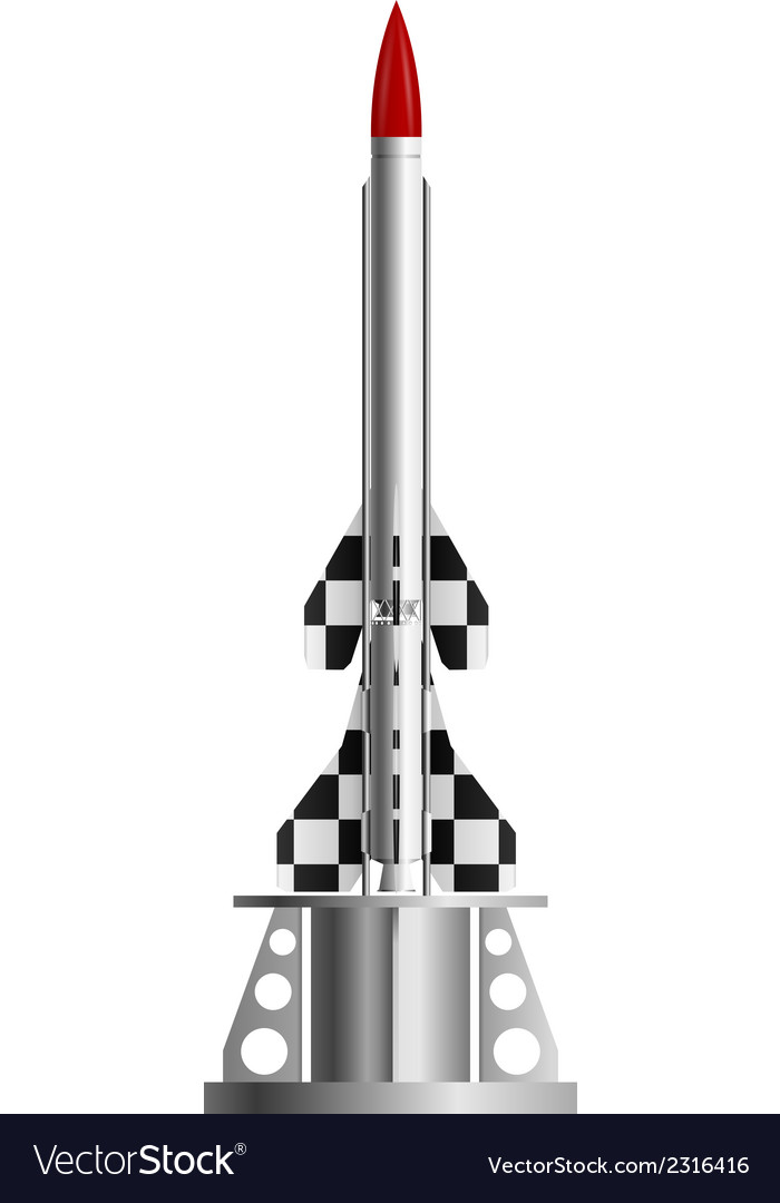 Two-stage rocket on the launch pad vector | Price: 1 Credit (USD $1)