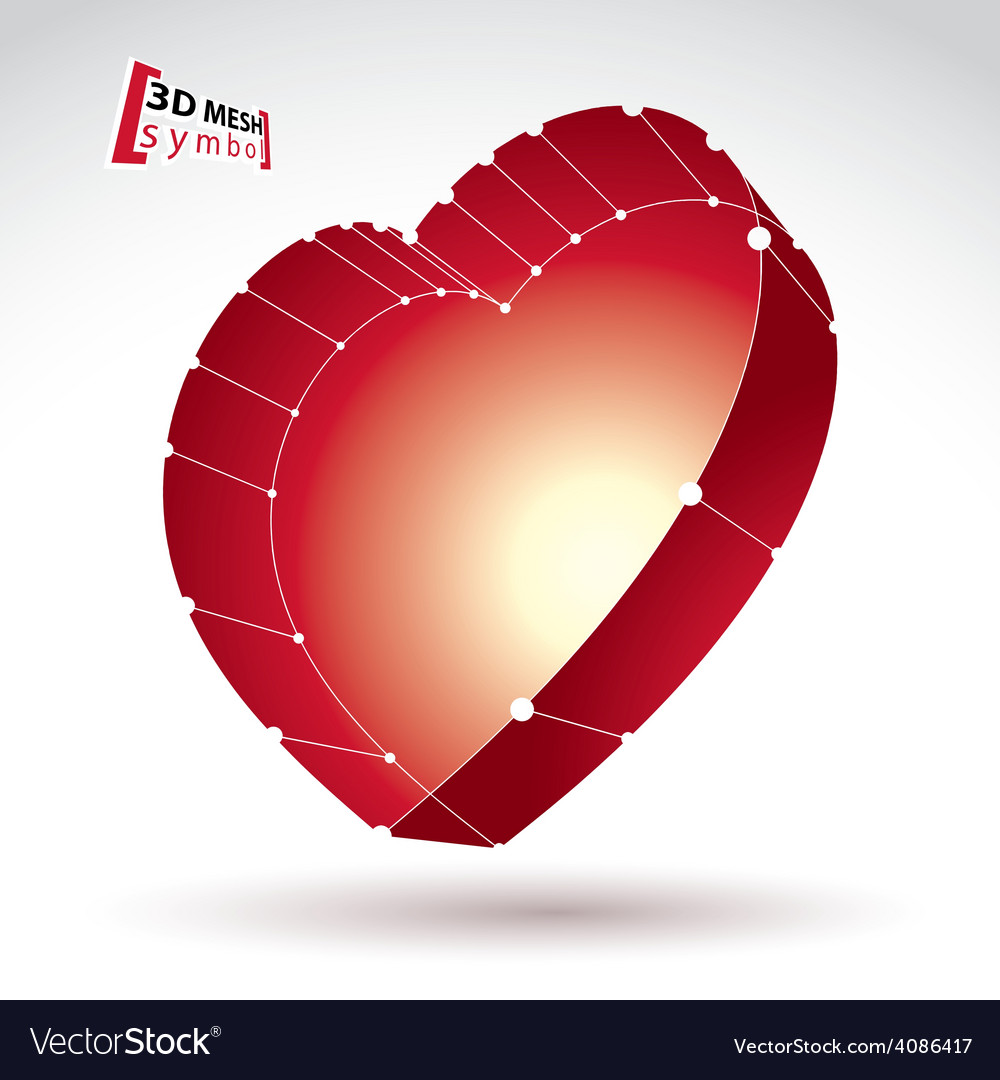 3d mesh stylish web red love heart sign isolated vector | Price: 1 Credit (USD $1)
