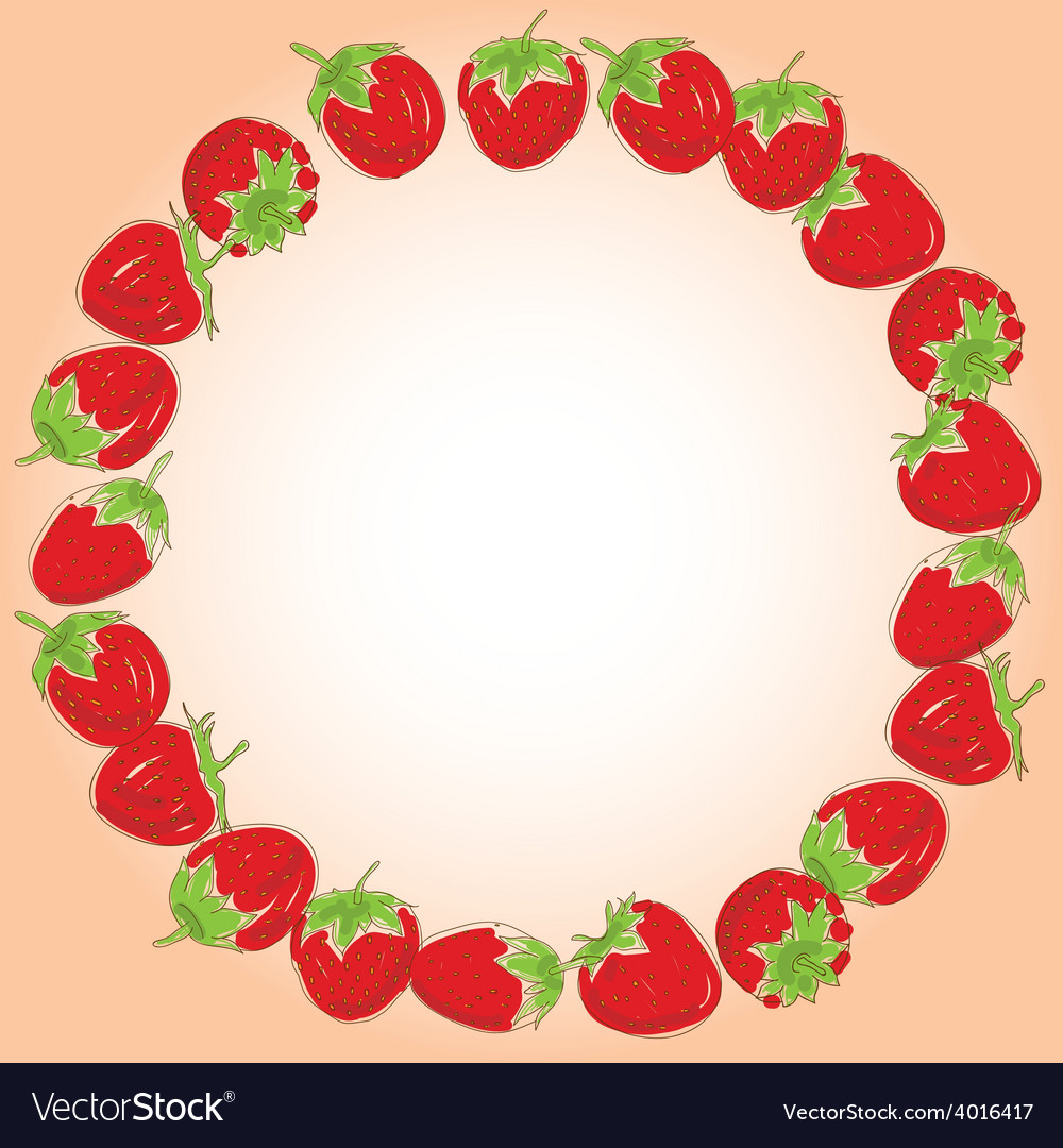 Card for your text set red strawberries on a white vector | Price: 1 Credit (USD $1)